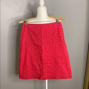 Ann Taylor Hot Pink Flower Eyelet Skirt 8